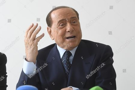 Former Italian Prime Minister, Forza Italia president and A.C. Monza owner Silvio Berlusconi attends a press conference illustrating the partnership with German stylist Philipp Plein (not pictured), Lugano, Switzerland, 18 July 2019.