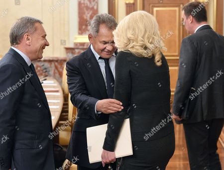 Stock Image of Russian Deputy Prime Ministers Yury Borisov (left), Tatyana Golikova (second right) and Russian Defense Minister Sergey Shoygu (second left) before the meeting.