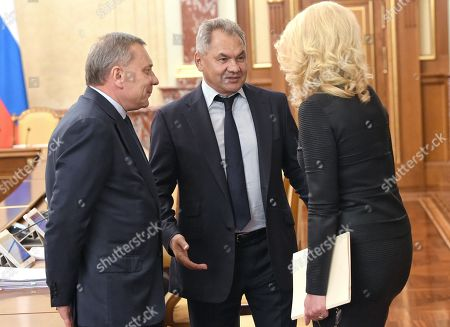 Stock Picture of Russian Deputy Prime Ministers Yury Borisov (left), Tatyana Golikova (right) and Russian Defense Minister Sergey Shoygu (center) before the meeting.