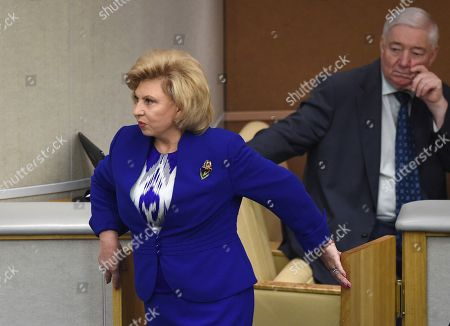 Stock Image of Russian Commissioner for Human Rights Tatyana Moskalkova (left) before the meeting.