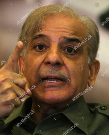 Shahbaz Sharif, leader of the Pakistan Muslim League and brother of arrested former Pakistani prime minister Nawaz Sharif, addresses a news conference in Lahore, Pakistan, . Shahbaz Sharif condemned the arrest of ex-prime minister Shahid Khaqan Abbasi. Authorities arrested Abbasi over alleged irregularities related to the import of natural gas from Qatar