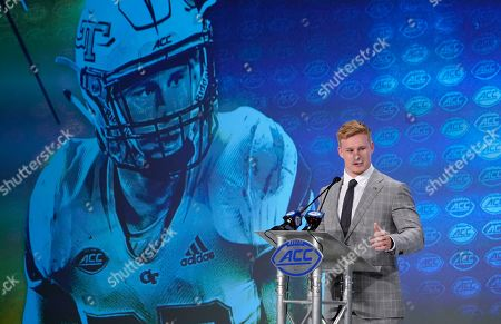 Georgia Tech's David Curry speaks during the Atlantic Coast Conference NCAA college football media days in Charlotte, N.C