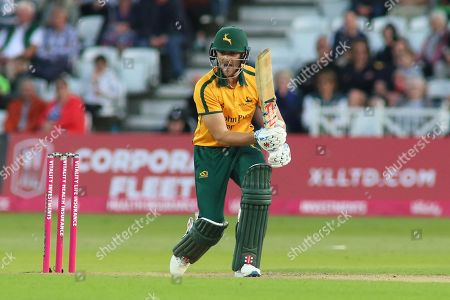 Joe Clarke of Nottinghamshire Outlaws calls for a single during the Vitality T20 Blast North Group match between Nottinghamshire County Cricket Club and Worcestershire County Cricket Club at Trent Bridge, West Bridgford