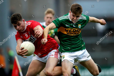 Cork vs Kerry. Cork's Daniel O'Connell is tackled by Michael Potts of Kerry