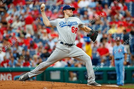Los Angeles Dodgers starting pitcher Ross Stripling (68) throws a pitch during the MLB game between the Los Angeles Dodgers and Philadelphia Phillies at Citizens Bank Park in Philadelphia, Pennsylvania