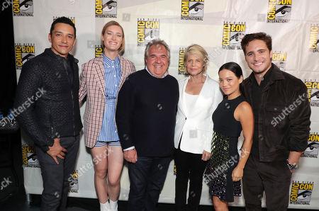 Gabriel Luna, Mackenzie Davis, Jim Gianopulos, CEO of Paramount Pictures, Linda Hamilton, Natalia Reyes, Diego Boneta