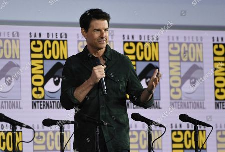 "Tom Cruise presents a clip from ""Top Gun: Maverick"" on day one of Comic-Con International, in San Diego"
