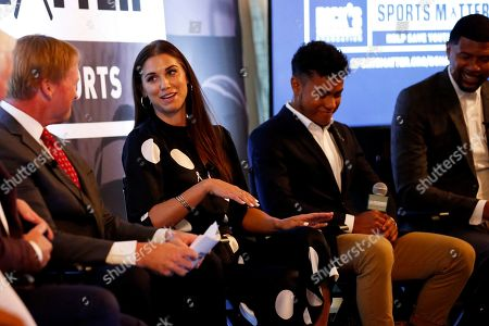 Jon Gruden, Alex Morgan, Jordany Baltazar, Jalen Rose. Chairman and CEO Edward W. Stack, from left, Jon Gruden, Alex Morgan, Jordany Baltazar, and Jalen Rose serve as panelists at the DICK'S Sports Matter Panel Event in New York