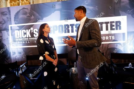 Alex Morgan, Jalen Rose. USWNT player Alex Morgan, left, and NBA player Jalen Rose speak about their paths to success in sports and pland to support causes giving more kids the chance to play at the DICK'S Sports Matter Panel Event in New York