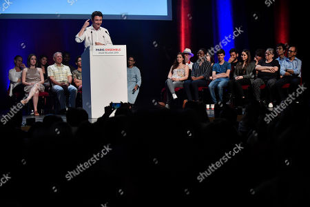French Member of the La Republique En Marche (LaREM) party and candidate for Paris' 2020 Municipal Election Benjamin Griveaux, delivers his speech during a meeting at the Theatre Libre in Paris, France, 18 July 2019.