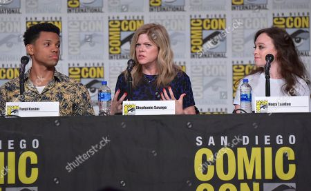 "Stock Photo of Tunji Kasim, Stephanie Savage, Noga Landau. Tunji Kasim, from left, Stephanie Savage and Noga Landau participate in the ""Nancy Drew"" panel on day one of Comic-Con International, in San Diego"