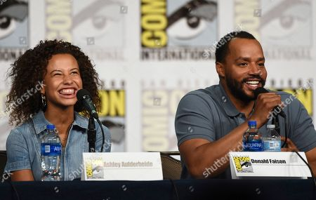 "Ashley Aufderheide, Donald Faison. Ashley Aufderheide, left, and Donald Faison participate in the ""Emergence"" panel on day one of Comic-Con International, in San Diego"