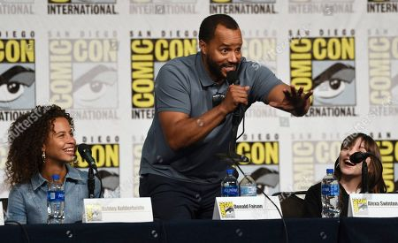 "Ashley Aufderheide, Donald Faison, Alexa Swinton. Ashley Aufderheide, from left, Donald Faison and Alexa Swinton participate in the ""Emergence"" panel on day one of Comic-Con International, in San Diego"