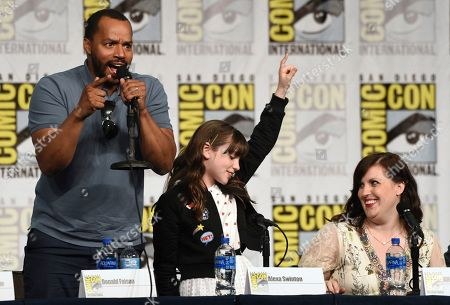"""Stock Photo of Donald Faison, Alexa Swinton, Allison Tolman. Donald Faison, from left, Alexa Swinton and Allison Tolman participate in the """"Emergence"""" panel on day one of Comic-Con International, in San Diego"""