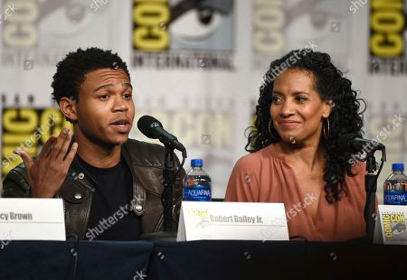 """Robert Bailey Jr., Zabryna Guevara. Robert Bailey Jr., left, and Zabryna Guevara participate in the """"Emergence"""" panel on day one of Comic-Con International, in San Diego"""