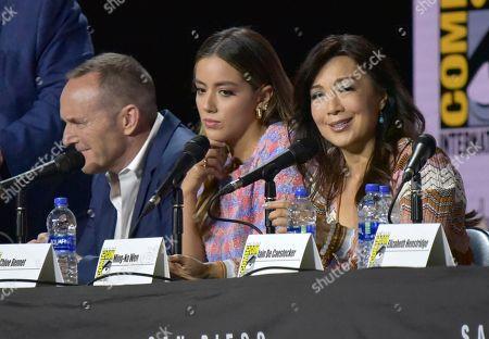 "Clark Gregg, Chloe Bennet, Ming-Na Wen. Clark Gregg, from left, Chloe Bennet and Ming-Na Wen participate in the ""Agents of S.H.I.E.L.D."" panel on day one of Comic-Con International, in San Diego"