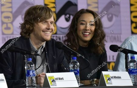 """Stock Picture of Jed Whedon, Maurissa Tancharoen. Jed Whedon, left, and producer Maurissa Tancharoen participate in the """"Agents of S.H.I.E.L.D."""" panel on day one of Comic-Con International, in San Diego"""