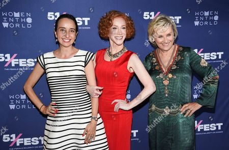 "Raphaela Neihausen, Kathy Griffin, Tina Brown. 51Fest executive director Raphaela Neihausen, left, comedian Kathy Griffin and founder and CEO of Tina Brown Live Media/Women in the World, Tina Brown, pose together at the 51Fest opening night screening of ""Kathy Griffin: A Hell of a Story"" at SVA Theatre, in New York"