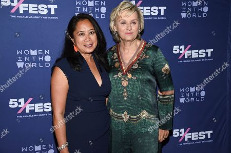 "Anne del Castillo, Tina Brown. Commissioner of the Mayor's Office of Media and Entertainment, Anne del Castillo, left, and founder and CEO of Tina Brown Live Media / Women in the World, Tina Brown, pose together at the 51Fest opening night screening of ""Kathy Griffin: A Hell of a Story"" at SVA Theatre, in New York"