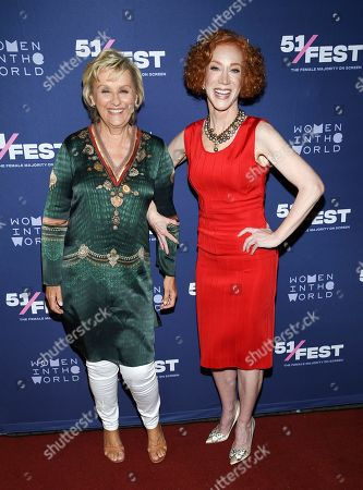 "Tina Brown, Kathy Griffin. Founder and CEO of Tina Brown Live Media/Women in the World, Tina Brown, left, and comedian Kathy Griffin pose together at the 51Fest opening night screening of ""Kathy Griffin: A Hell of a Story"" at SVA Theatre, in New York"