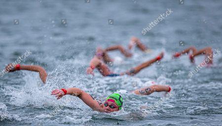 Lenka Sterbova of (C) the Czech Republic competes in the Women's 25km Open Water Swimming at the Gwangju 2019 FINA World Championships in Yeosu, South Korea, 19 July 2019.