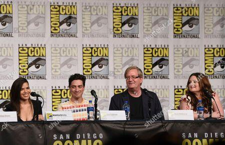 "America Ferrera, Ben Feldman, Mark McKinney, Lauren Ash. America Ferrera, from left, Ben Feldman, Mark McKinney and Lauren Ash participate in the ""Superstore"" panel on day one of Comic-Con International, in San Diego"