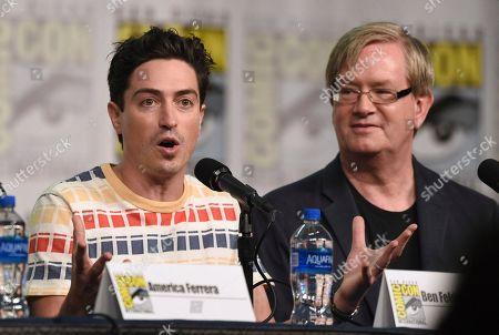 "Ben Feldman, Mark McKinney. Ben Feldman, left, and Mark McKinney participate in the ""Superstore"" panel on day one of Comic-Con International, in San Diego"