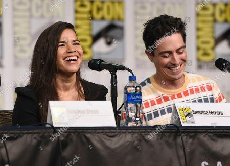 "America Ferrera, Ben Feldman. America Ferrera, left, and Ben Feldman participate in the ""Superstore"" panel on day one of Comic-Con International, in San Diego"