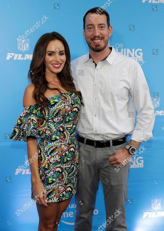 "Kyle Busch, Samantha Busch. NASCAR driver Kyle Busch, right, poses for a photo with his wife, Samantha, as they arrive before the local premiere of Amazon's ""All Or Nothing, The Carolina Panthers"" in Charlotte, N.C"
