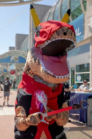 """Keith Brown of Pasadena, CA, as """"Pika Dead Rex"""" on Day One at Comic-Con International, in San Diego, CA"""