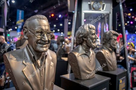 Stock Image of A bust of Stan Lee is displayed at the Gentle Giant Studios Booth on Day One at Comic-Con International, in San Diego, Calif
