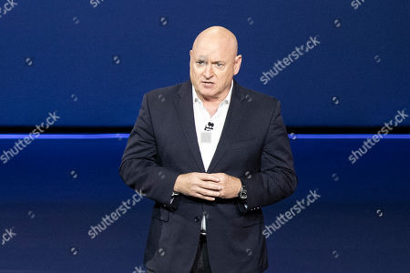 Stock Image of Engineer and former astronaut Scott Kelly delivers a speech during the unveiling of the next generation of Corvette in Tustin, California, USA, 18 July 2019. Media reports on 18 July 2019 state that Chevrolet has introduced the next generation Corvette.