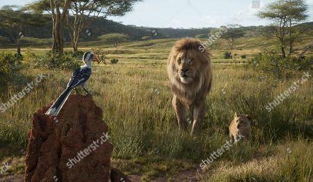 Zazu (John Oliver as Zazu), Mufasa (James Earl Jones) and Young Simba (JD McCrary)