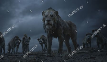 The Hyenas (Florence Kasumba, Eric Andre and Keegan-Michael Key) and Scar (Chiwetal Ejiofor)