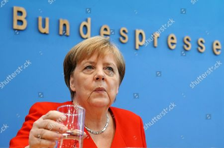 German Chancellor Angela Merkel annual press conference Stock Photos