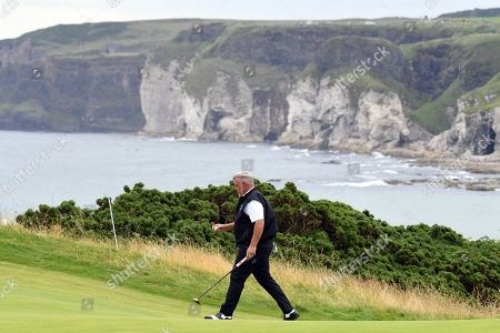 Darren Clarke of Northern Ireland on the green during the second round of the British Open Golf Championship at Royal Portrush, Northern Ireland, 19 July 2019.