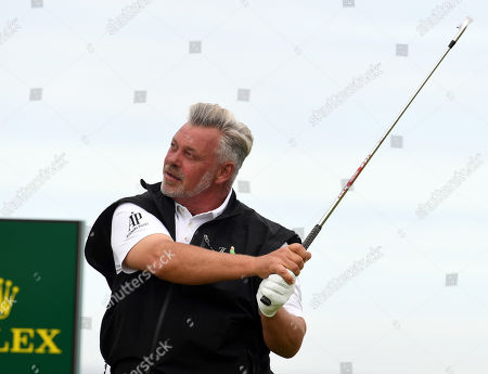 Stock Photo of Darren Clarke of Northern Ireland tees off during the second round of the British Open Golf Championship at Royal Portrush, Northern Ireland, 19 July 2019.
