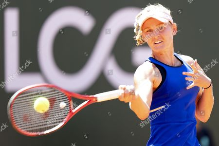 Fiona Ferro from France in action during her quarter final match against Samantha Stosur from Australia at the WTA International Ladies Open Lausanne tournament, in Lausanne, Switzerland, 19 July 2019.