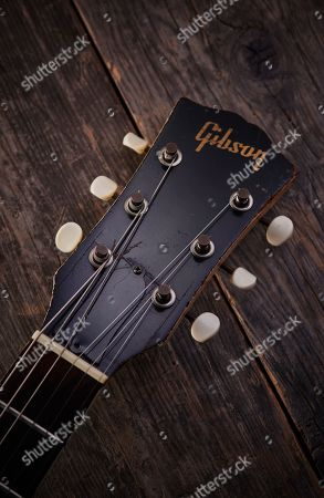 Stock Picture of Detail Of The Headstock On A Vintage 1962 Gibson Sg Tv Electric Guitar Previously Owned By English Rock Musician Julian Cope