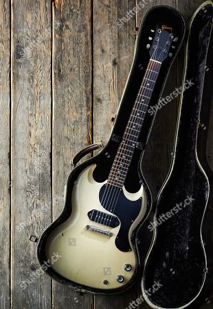 Stock Photo of A Vintage 1962 Gibson Sg Tv Electric Guitar Previously Owned By English Rock Musician Julian Cope