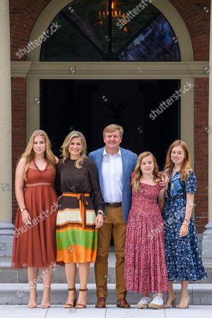Stock Photo of King Willem-Alexander, Queen Maxima with children Princess Amalia, Princess Alexia and Princess Ariane