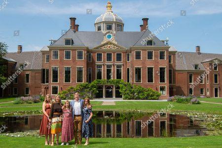 Stock Image of King Willem-Alexander, Queen Maxima with children Princess Amalia, Princess Alexia and Princess Ariane
