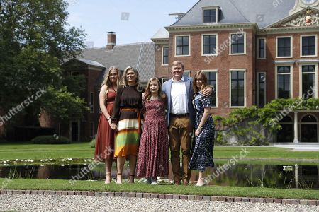(L-R) Dutch Princess Catharina-Amalia, Queen Maxima, Princess Ariane, King Willem-Alexander and Princess Alexia pose during the annual royal photo session in the garden of Huis ten Bosch Palace in The Hague, Netherlands, 19 July 2019. Huis ten Bosch is one of three official residences of the Dutch royal family.