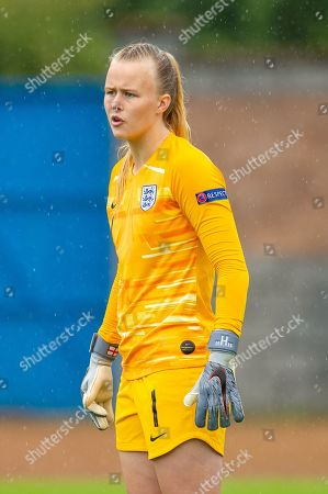 Hannah Hampton (#1) of England during the UEFA Women's U19 European Championship match between England Women and Spain at Forthbank Stadium, Stirling