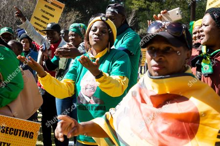 Supporters of former President Jacob Zuma gather at the end of the forth day of his testimony during the Commission of Inquiry into State Capture in Johannesburg, South Africa, 19 July 2019. Former president Jacob Zuma made an appearance at the state capture inquiry that has been set up to investigate allegations of 'state capture'.