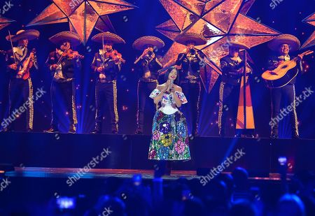 Angela Aguilar performs on stage