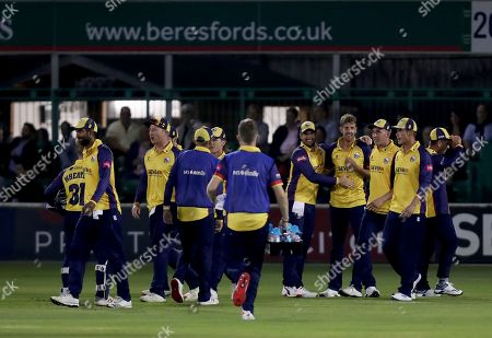 Matt Quinn of Essex is congratulated having taken the wicket of Ben Foakes during Essex Eagles vs Surrey, Vitality Blast T20 Cricket at The Cloudfm County Ground on 19th July 2019