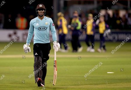 Ben Foakes of Surrey leaves the field having been caught for zero during Essex Eagles vs Surrey, Vitality Blast T20 Cricket at The Cloudfm County Ground on 19th July 2019
