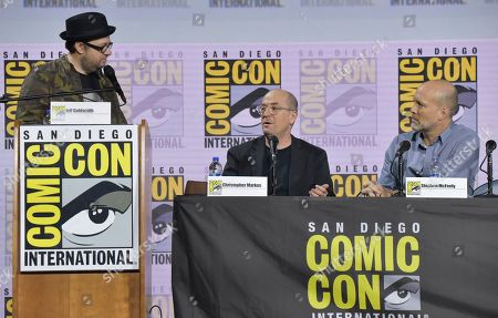 "Stock Picture of Christopher Markus, Stephen McFeely, Jeff Goldsmith. Moderator Jeff Goldsmith, from left, Christopher Markus and Stephen McFeely participate in the Writing ""Avengers: Endgame"" panel on day two of Comic-Con International, in San Diego"