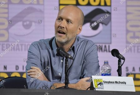 """Stephen McFeely speaks at the Writing """"Avengers: Endgame"""" panel on day two of Comic-Con International, in San Diego"""